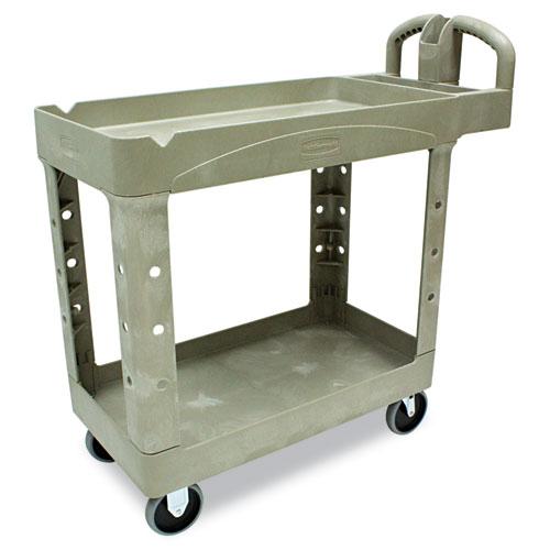 Heavy-Duty Utility Cart, Two-Shelf, 17.13w x 38.5d x 38.88h, Beige