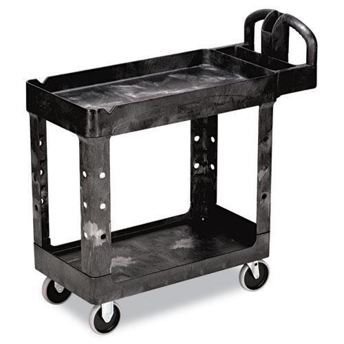 Heavy-Duty Utility Cart, Two-Shelf, 17.13w x 38.5d x 38.88h, Black | by Plexsupply