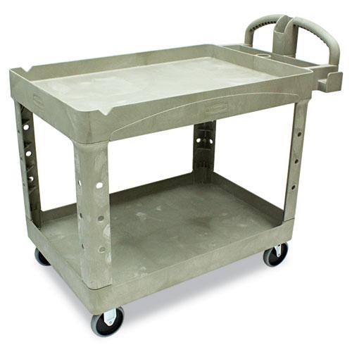 Heavy-Duty Utility Cart, Two-Shelf, 25.9w x 45.2d x 32.2h, Beige