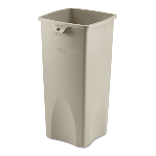 Untouchable Square Waste Receptacle, Plastic, 23 gal, Beige | by Plexsupply