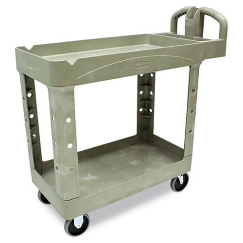 Rubbermaid® Commercial Heavy-Duty Utility Cart, Two-Shelf, 17.13w x 38.5d x 38.88h, Beige