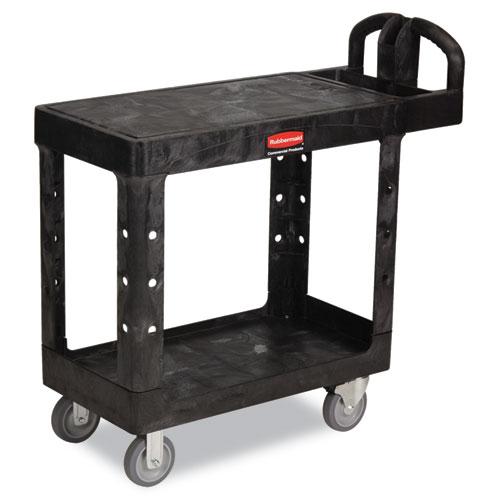 Flat Shelf Utility Cart, Two-Shelf, 19.19w x 37.88d x 33.33h, Black