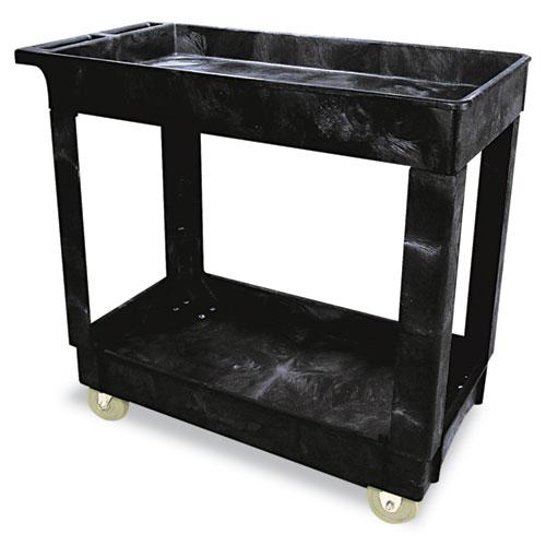 Rubbermaid® Commercial Service/Utility Cart, Two-Shelf, 34.13w x 17.38d x 32.38h, Black