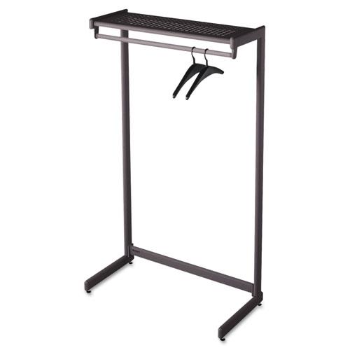Single-Side Garment Rack w/Shelf, Powder Coated Textured Steel, 48w x 18.5d x 61.5h, Black | by Plexsupply