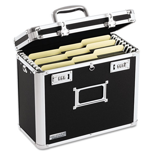 "Locking File Chest, Letter Files, 13.75"" x 7.25"" x 12.25"", Black 