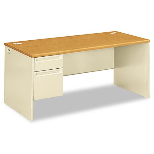 38000 Series Left Pedestal Desk, 66w x 30d x 29.5h, Harvest/Putty | by Plexsupply