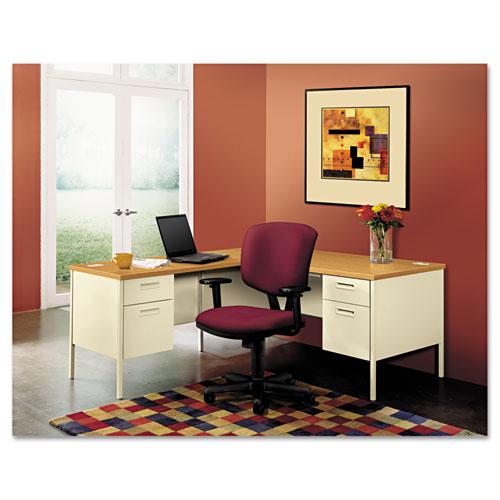 HON® Metro Classic Right Pedestal Desk, 66w x 30d, Harvest/Putty