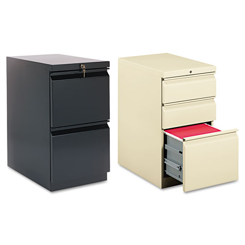 HON® Efficiencies Mobile Pedestal File with One File/Two Box Drawers, 19-7/8d, Putty