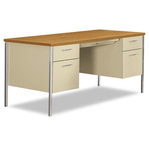 34000 Series Double Pedestal Desk, 60w x 30d x 29.5h, Harvest/Putty | by Plexsupply