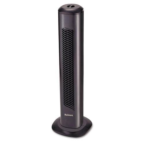 "Holmes® Oscillating Tower Fan, Three-Speed, Black, 5 9/10""W x 31""H"