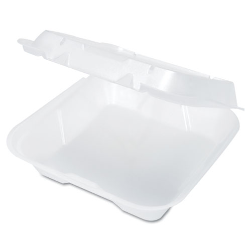 Snap-It Vented Foam Hinged Container, White, 9-1/4 x 9-1/4 x 3, 100/Bag, 2/CT | by Plexsupply