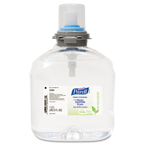 PURELL® TFX Green Certified Instant Hand Sanitizer Foam Refill, 1200 mL, Clear
