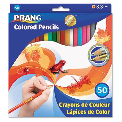 Colored Pencil Sets, 3.3 mm, 2B (#1), Assorted Lead/Barrel Colors, 50/Pack | by Plexsupply