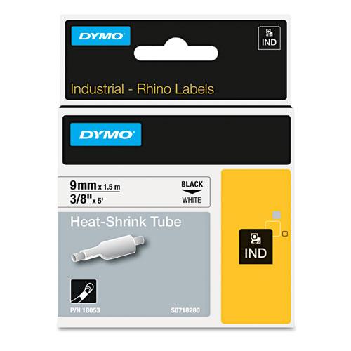 "Rhino Heat Shrink Tubes Industrial Label Tape, 0.37"" x 5 ft, White/Black Print"