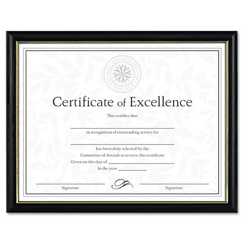 Two-Tone Document/Diploma Frame, Wood, 8 1/2 x 11, Black w/Gold Leaf Trim | by Plexsupply