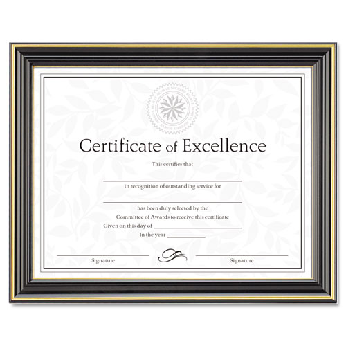 Gold-Trimmed Document Frame w/Certificate, Plastic/Glass, 8 1/2 x 11, Black | by Plexsupply