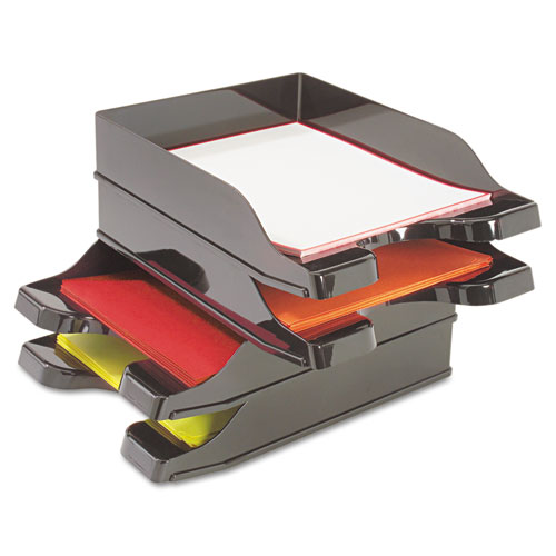 Docutray Multi-Directional Stacking Tray Set, 2 Sections, Letter to Legal Size Files, 10.13 x 13.63 x 2.5, Black, 2/Pack