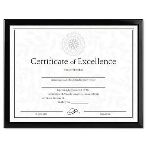 Value U-Channel Document Frame w/Certificates, 8 1/2 x 11, Black | by Plexsupply