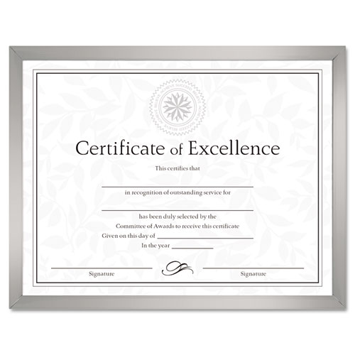 Value U-Channel Document Frame w/Certificates, 8 1/2 x 11, Silver | by Plexsupply