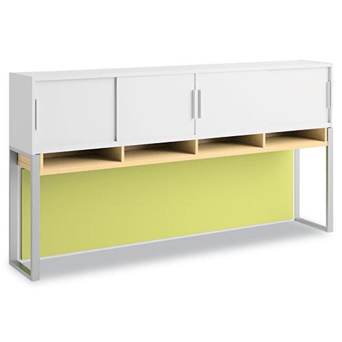 Bush® Momentum Collection Overhead w/Doors, 72w x 13d x 38 1/8h, Natural Maple/White