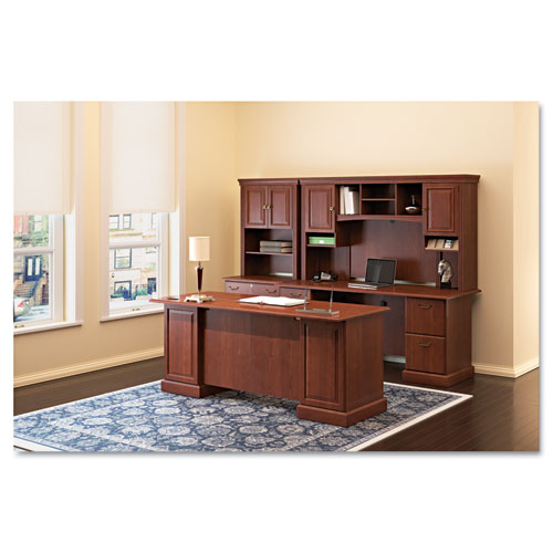 "Bush® 60""W Double Pedestal Desk (B/B/F, F/F) Box 1 of 2 Syndicate, 60.88w x 30d x 30.75h, Mocha Cherry"