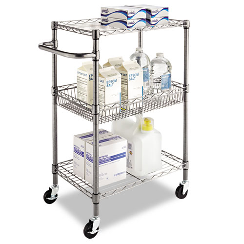 Go Home Black Industrial Kitchen Cart At Lowes Com: ALESW342416BA Alera® Three-Tier Wire Rolling Cart