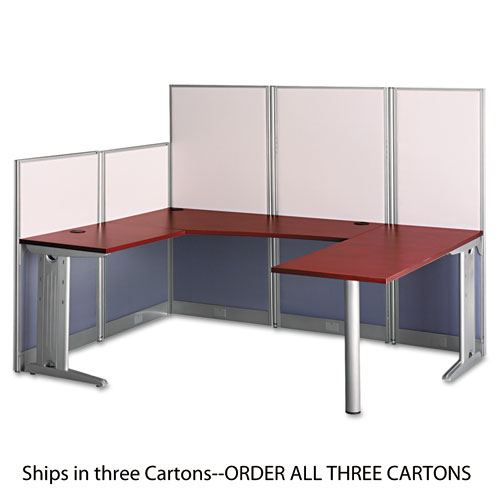 Office in an Hour U-Workstation (Box 3 of 3), 88.25w x 64.5d x 63h, Hansen Cherry/Silver