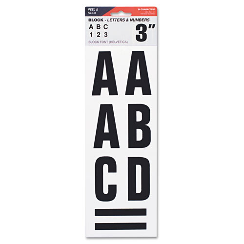 "Letters, Numbers & Symbols, Adhesive, 3"", Black 