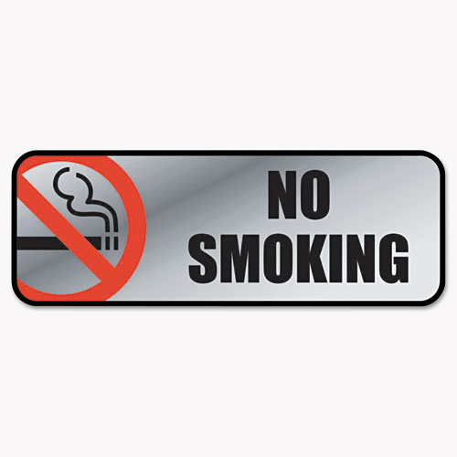 Brush Metal Office Sign, No Smoking, 9 x 3, Silver/Red | by Plexsupply
