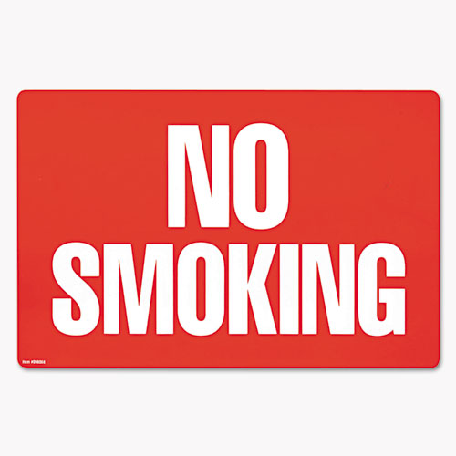 Two-Sided Signs, No Smoking/No Fumar, 8 x 12, Red | by Plexsupply