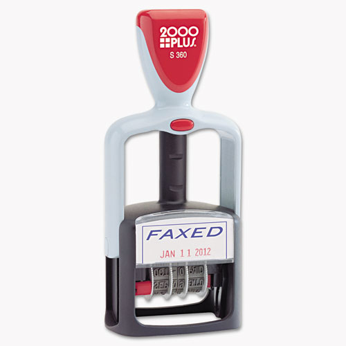 Model S 360 Two-Color Message Dater, 1.75 x 1, Faxed, Self-Inking, Blue/Red