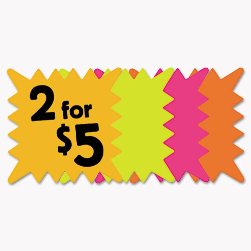 COSCO Die Cut Paper Signs, 5 1/4 x 5 1/4, Square, Assorted Colors, Pack of 48 Each