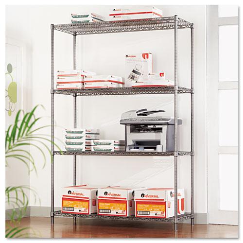 alera complete wire shelving unit w caster four shelf. Black Bedroom Furniture Sets. Home Design Ideas