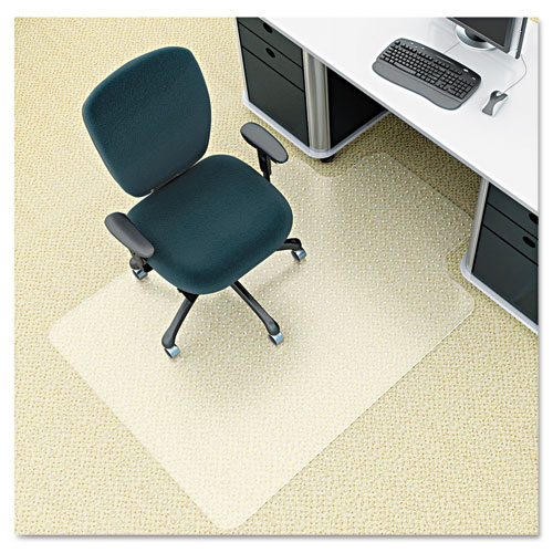 deflecto® EnvironMat Recycled Anytime Use Chair Mat, Med Pile Carpet, 36 x 48 with Lip, Clear