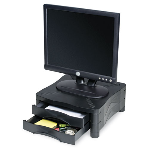Adjustable Monitor Stand w/Double Storage Drawer, 13 x 13-1/2 x 4-3/4 to 5-3/4