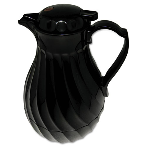 Poly Lined Carafe, Swirl Design, 40oz Capacity, Black | by Plexsupply