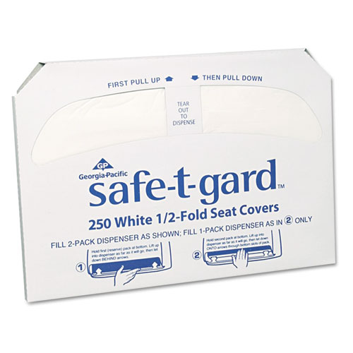 Safe-T-Gard Half-Fold Toilet Seat Covers, 14.5 x 17, White, 250/Pack, 20 Packs/Carton
