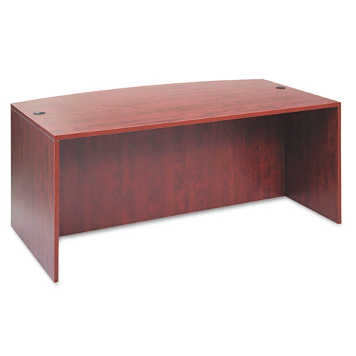 Alera Valencia Bow Desk Shell, 71w x 35.5d to 41.38d x 29.63h, Medium Cherry