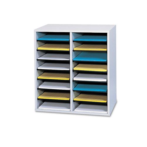 SAF9422GR Safco 16 Compartments Adjustable Shelves Literature Organizer