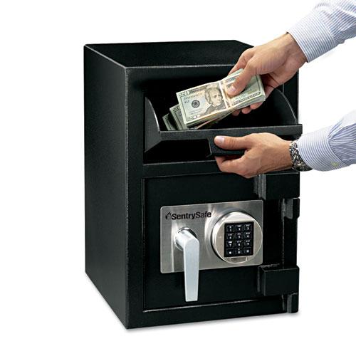Digital Depository Safe, Large, 0.94 cu ft, 14w x 15.6d x 20h, Black | by Plexsupply
