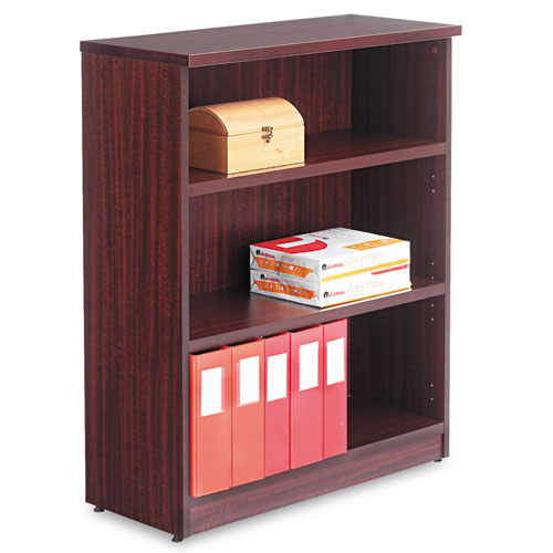 Alera Valencia Series Bookcase, Three-Shelf, 31 3/4w x 14d x 39 3/8h, Mahogany | by Plexsupply