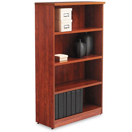 Alera Valencia Series Bookcase, Four-Shelf, 31 3/4w x 14d x 54 7/8h, Medium Cherry | by Plexsupply
