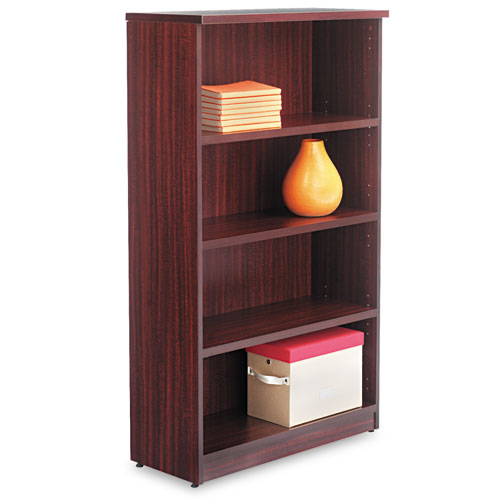 Alera Valencia Series Bookcase, Four-Shelf, 31 3/4w x 14d x 54 7/8h, Mahogany | by Plexsupply