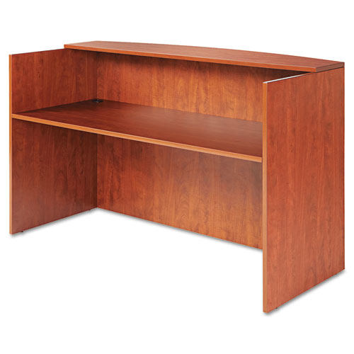 "Alera Valencia Series Reception Desk with Transaction Counter, 71"" x 35.5"" x 29.5"" to 42.5"", Medium Cherry"