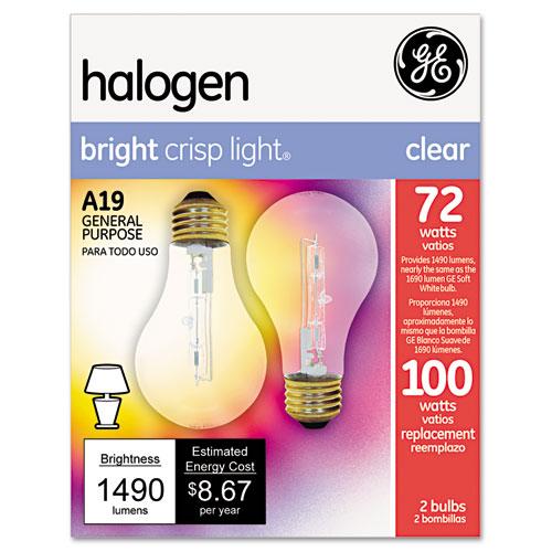 Halogen Bulb, Globe, 72 Watts, 2/Pack