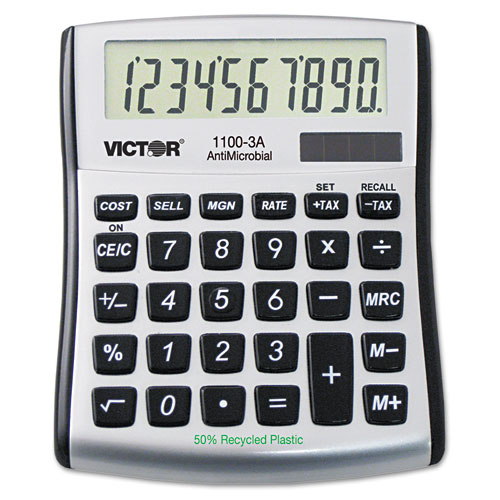 1100-3A Antimicrobial Compact Desktop Calculator, 10-Digit LCD | by Plexsupply