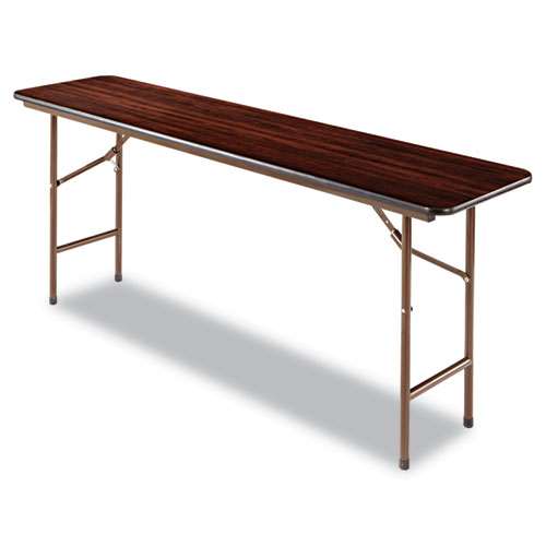 Wood Folding Table, Rectangular, 71 7/8w x 17 3/4d x 29 1/8h, Mahogany