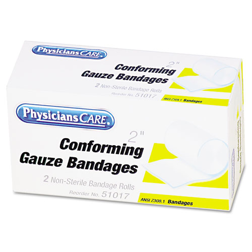 First Aid Conforming Gauze Bandage, 2 wide, 2 Rolls/Box