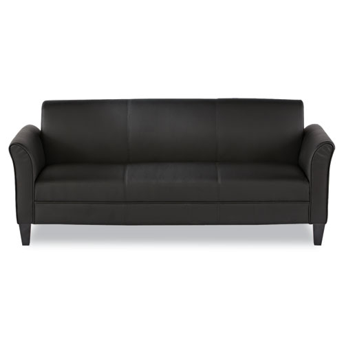 Alera Reception Lounge Furniture, 3-Cushion Sofa, 77w x 31.5d x 32h, Black