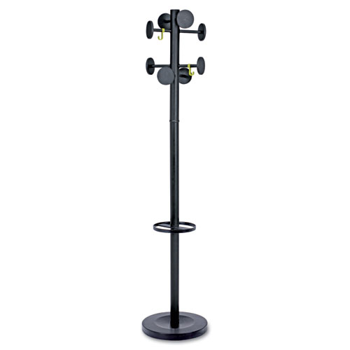 Stan3 Steel Coat Rack, Stand Alone Rack, Eight Knobs, 15w x 15d x 69.3h, Black